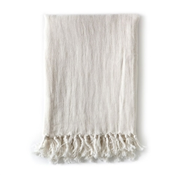 blanket cream ivory off-white linen fringe king organic