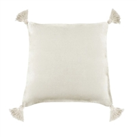 pillow linen square tassels cream feather down insert