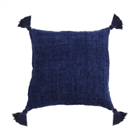 pillow linen square tassels indigo navy feather down insert