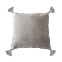 pillow linen square tassels natural feather down insert