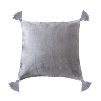 pillow linen square tassels ocean gray/blue feather down insert