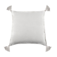 pillow linen square tassels pure white feather down insert