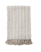 blanket stripe blue navy midnight ivory natural fringe tassels linen