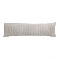 pillow long rectangle tan natural navy blue stripe feather down insert linen