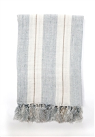 throw knit linen stripe ocean blue ivory off-white natural tassels