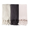 throw oversized knitted acrylic chunky rope-like tassels midnight navy off white blush pink oversized