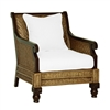 rattan arm chair wood two-toned pillow cushion white herringbone four legs tropical