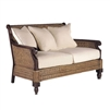 loveseat sofa woven rattan tropical wood mahogany dark herringbone texture casual coastal pillow cushion white