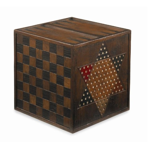 game cube accent table wood rustic