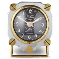 table clock round silver brushed aluminum brass screws black face aircraft WWII altitude pilot