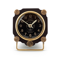 table clock black brass altitude dial