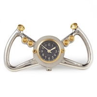 table clock aluminum WWII USAF steering yoke aircraft dial aluminum and brass accents