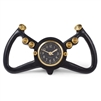 table clock black WWII USAF steering yoke aircraft dial aluminum and brass accents