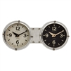 table clock twin dials black white dual time zone