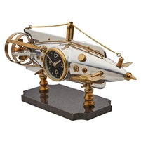 table clock round silver brushed aluminum brass screws black face torpedo four blade propeller operable dive planes