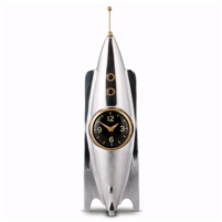 table clock polished cast aluminum brass rocket antenna hatch windows three legs