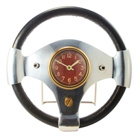 table clock round aluminum brass leather wrapped steering wheel red face