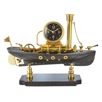 table clock aluminum brass marble base maritime model ship glass brass steam piston
