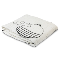black white fish quilt blanket bubbles reversible polka dots cotton