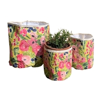 yellow abstract pink flowers art paper storage bags