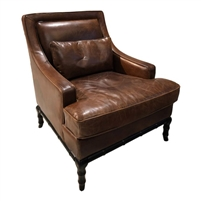 leather chair cigar brown bamboo frame