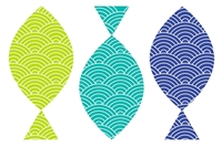 blue green teal fish paper placemat