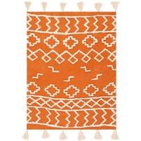 burnt orange cream cotton woven shag throw