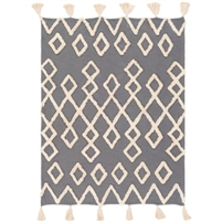 medium gray cream cotton woven shag throw