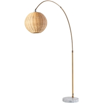 natural floor lamp round metal base foot step bronze