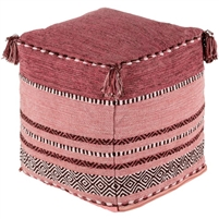 cotton hand woven red pink pouf tassels
