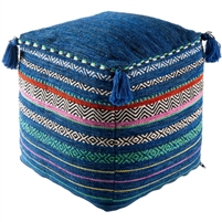 cotton hand woven multi color pouf tassels