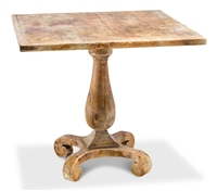 table pedestal square wood antiqued distressed oak
