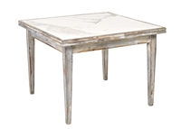 expandable square table birchwood legs marble top