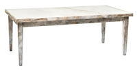 Rectangular Extension Dining Table - Marble + Leather