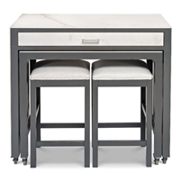 kitchen island small table two stools porcelain marble