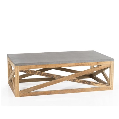 coffee table rectangle wood iron natural teak silver gray x's frame industrial rustic transitional farmhouse