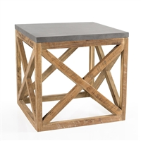 table square wood metal gray teak reclaimed x's rustic transitional natural cube