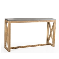 console table high long wood iron natural teak silver gray x's frame rustic rustic transitional farmhouse stretcher