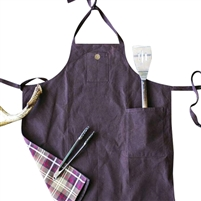 Men's grilling full length apron with pocket. Waxed canvas, chocolate brown.