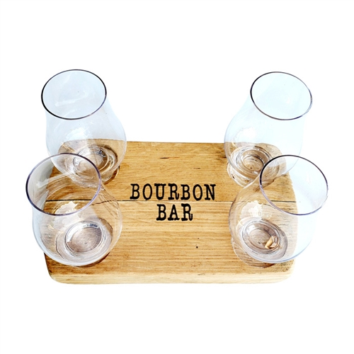 whiskey bar flight rectangle wood glass rustic custom
