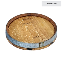 wine barrel lazy susan round rustic reclaimed oak metal band