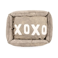 large canvas dog bed tan xoxo message