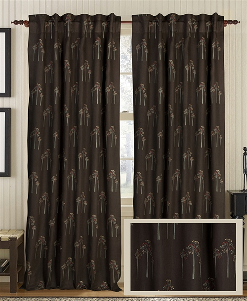 Creative Threads curtain panels drapery linen embroidery trees threes dark aqua red cream