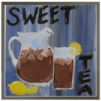 Folk Art Sweet Ice Tea Pitcher Glass Lemons Grey Wood Shadow Box Frame