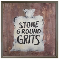 Folk Art white sack stone ground grits Grey Wood Shadow Box Frame