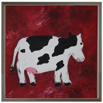Folk Art black white cow red background grey wood shadow box frame