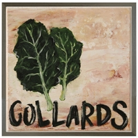 folk art collards green leaves grey wood shadow box frame