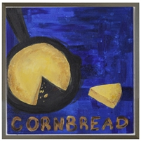 folk art corn bread wrought iron pan blue background grey wood shadow box frame