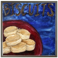 folk art biscuits red bowl blue background grey wood shadow box frame