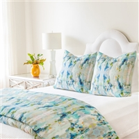water colors abstract patterns duvet pillow sham teal blue